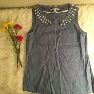 Boden Blue & White  Sleeveless Shirt Top